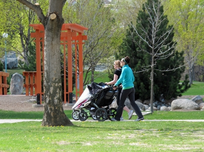 Mothers took advantage of the sunny weather Friday afternoon to take their children out on the town.