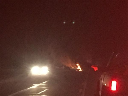 Flames could be seen at a vehicle crash near Ashcroft Tuesday evening.