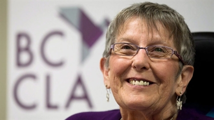 Gloria Taylor of West Kelowna, who suffered from Lou Gehrig's disease and won a doctor-assisted suicide challenge in B.C. Supreme Court, smiles during a news conference at the B.C. Civil Liberties Association in Vancouver on Monday June 18, 2012. She died of an infection in October 2012.
