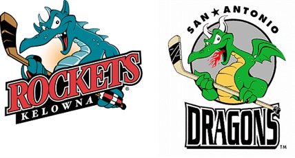 The Ogopogo monster featured on the Kelowna Rockets brand (left) is nearly identical to the dragon on the San Antonio Dragons logo (right).