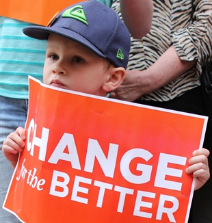 NDP leader Adrian Dix (not shown) shared a word with this young supporter at the NDP rally at the party's Penticton office Monday night.