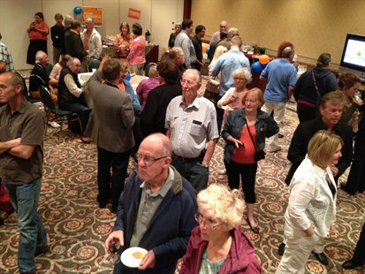 9:17 p.m. crowd for NDP Richard Cannings at Lakeside Resort grows larger. 2483 for Ashton and 2228 for Cannings