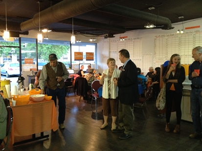 NDP supporters gather early to watch results. All three Kelowna-area candidates are together at their team campaign office tonight.