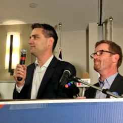 Liberal candidates Todd Stone and Terry Lake of the Kamloops North and South Thompson celebrated their victories at Hotel 540 with a large group of supporters.