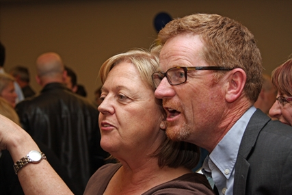 Kamloops North Thompson Liberal candidate Terry Lake watches the results closely with wife Lisa.