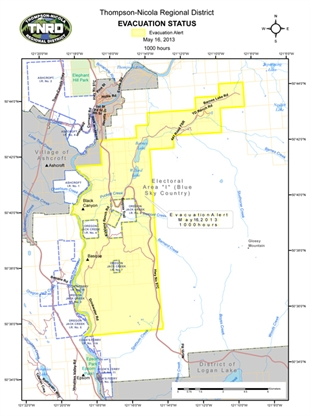 The evacuation alert issued due to the Spatsum Creek fire has been rescinded in all areas.