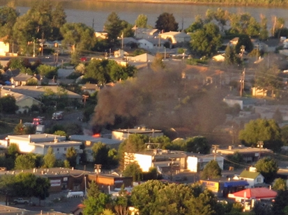 A fire Aug. 2, 2012 destroys part of the Kamloops Food Bank building.