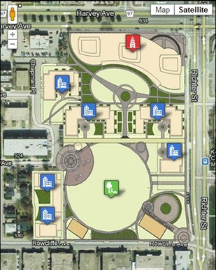 A map of the various residential buildings, towers, public plaza and park space to fill the site.