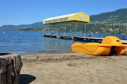 The beach and dock at the Kokanee Beach Resort on Wood Lake in the Okanagan where a father drowned trying to rescue his children.