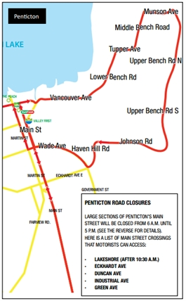 Penticton residents should expect several road closures for most of Sunday during the third annual Valley First Granfondo Axel Merckx Okanagan race event.