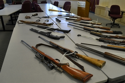 An assortment of weapons seized by the Kelowna RCMP at a home in Glenmore.