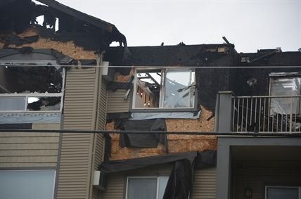 The roof and fourth floor of the Legacy apartment building sustained the most damage from yesterday's fire