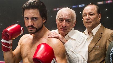 "This image released by The Weinstein Company shows Edgar Ramirez, from left, Robert De Niro, and Ruben Blades in a scene from, ""Hands of Stone."""