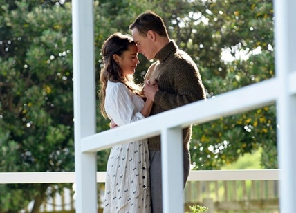"This image released by Dreamworks II shows Alicia Vikander, left, and Michael Fassbender in a scene from, ""The Light Between Oceans."""