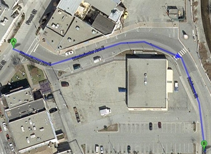 The street highlighted blue is the new Backstreet Boulevard. It combines portions of Westminster Ave. East and Robinson Street. It was renamed at Monday night's council meeting on request of several area businesses.
