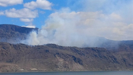 The Kamloops Lake forest fire is burning in steep terrain. No structures are threatened.