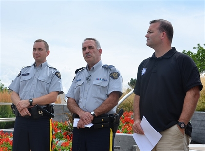 Kelowna RCMP Const. Kris Clark, Penticton Cpl. Dan Moskaluk and Special Enforcement Sgt. Lindsey Houghton (Left to right).