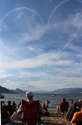 The Snowbirds drew a large heart in the sky which made the Okanagan Park beach audience laugh and cheer.