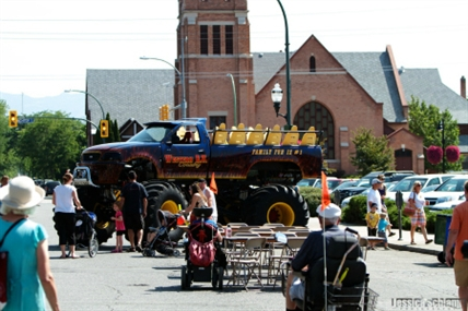 A monster truck is just about the only vehicle you'll see parked on Bernard Avenue this Saturday.
