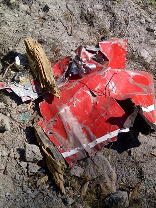 Part of the Cessna 172L wreckage that crash landed west of Kamloops.
