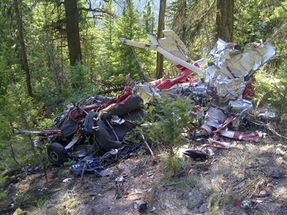 Wreckage of a Cessna 172L that crash landed in the Cache Creek Hills west of Kamloops.