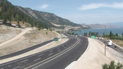 The view at the north end of the new section of highway during construction.