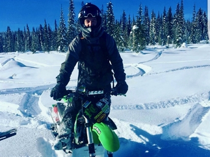 Jordan Edgelow, 27, is pictured with his snow bike in this undated photo. Edgelow got and had to spend the night in Hunter's Range on Monday, Jan. 16, 2017.