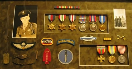 John Furman, 95, is undergoing a psychiatric assessment to see if he can be held criminally responsible for the death of William May. Furman was a decorated war veteran. His medals, and a photo of him, were used in a museum display and are pictured here.