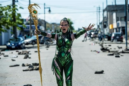 "In this image released by Lionsgate, Elizabeth Banks appears in a scene from, ""Power Rangers."""
