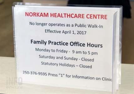 A sign at the Norkam Health Centre.