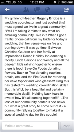 Lenetta Parry posted a message on Facebook from her friend, wedding planner Heather Bridge.