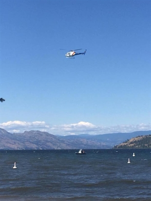 The search on Okanagan Lake in Kelowna, Sunday, July 16, 2017.