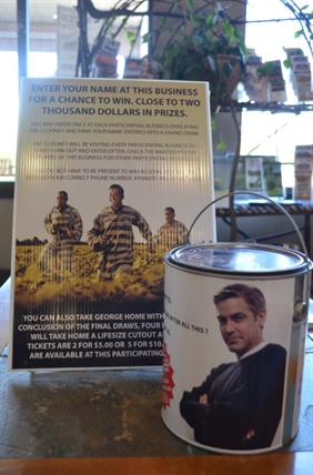 Those who successfully find the 'Wanted' man that is George Clooney can enter a draw for prizes donated by Enderby businesses.