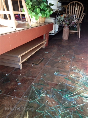 Thrift City experienced it's second incident in a bout of bad luck yesterday when a front window was smashed.