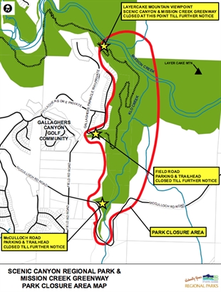A map showing the areas of Scenic Canyon Regional Park closed due to cougar activity.