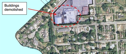 A fruit co-operative wants to destroy a 1.8 hectare concrete slab, circled in red, located right in downtown Naramata.