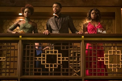 "This image released by Disney shows Lupita Nyong'o, from left, Chadwick Boseman and Danai Gurira in a scene from Marvel Studios' ""Black Panther."""