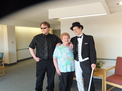 Richard Lemke (left) at his brother Michael's graduation with their grandmother.
