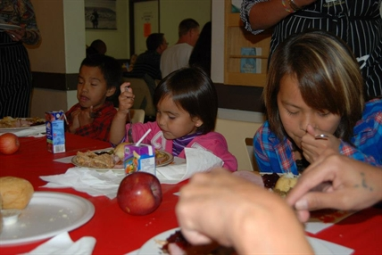 Some of the kids that enjoyed a turkey dinner at the 2012 Kelowna Gospel Mission Thanksgiving Dinner.