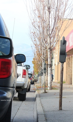 Ellis Street has a mix of free and paid-marking spots for good portions of its length. Penticton council paused a plan to remove some road-side parking for new bike lanes over concerns from businesses.