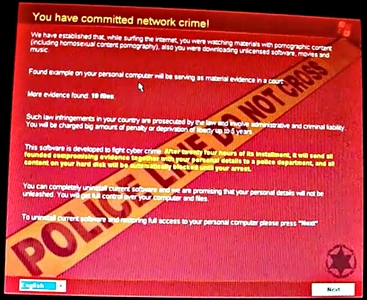 An example from a YouTube video of what ScareWare or RansomeWare might look like.