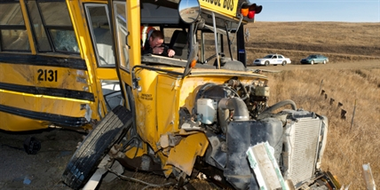 A police investigator inside a school bus that collided with a truck on Friday, October 25, 2013.