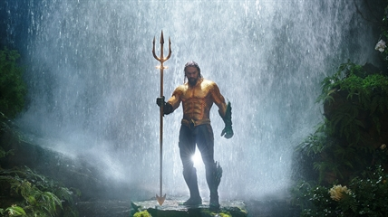 "This image released by Warner Bros. Pictures shows Jason Momoa in a scene from ""Aquaman."""