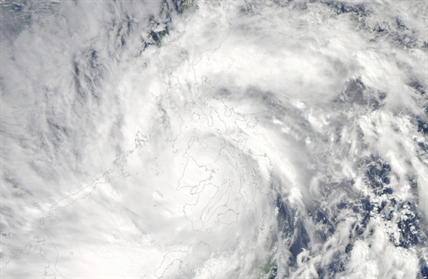 This image provided by NASA shows Typhoon Haiyan taken by the Aqua satellite Nov. 8.
