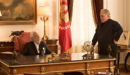 President Snow is played by Donald Sutherland (left) and Plutarch Heavensbee is played by Philip Seymour Hoffman in