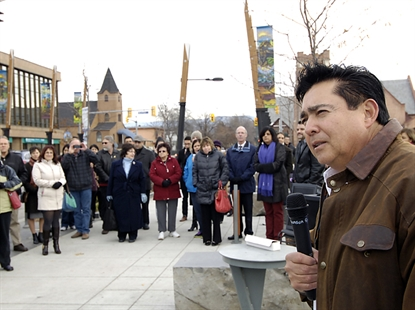 WFN Chief Robert Louie at the unveiling of eight banners that will hang in downtown Kelowna.