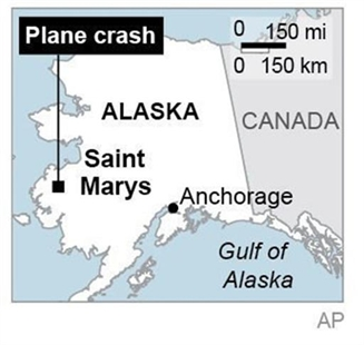 Map locates Saint Mary's in Alaska, where a small plane crashed, killing four on Saturday, Nov. 29, 2013.