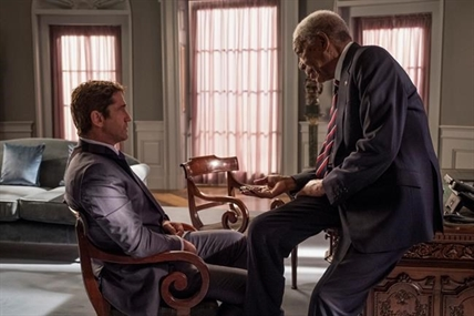 "This image released by Lionsgate shows Gerard Butler, left and Morgan Freeman in ""Angel Has Fallen,"" directed by Ric Roman Waugh."