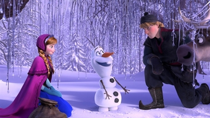 This image released by Disney shows, from left, Anna, voiced by Kristen Bell, Olaf, voiced by Josh Gad, and Kristoff, voiced by Jonathan Groff in a scene from the animated feature 'Frozen.'