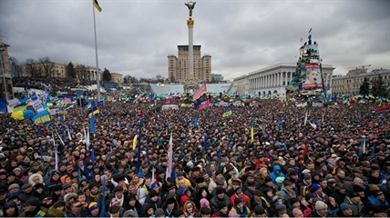 Pro-European Union activists gather during a rally in the Independence Square in Kyiv, Ukraine, Sunday, Dec. 8, 2013.